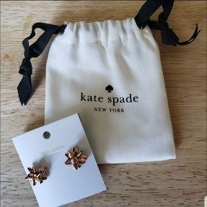 NWT Kate Spade Rose Gold Bow Earrings